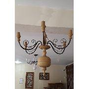 Lustre Para 06 Lâmpadas Em Madeira E Ferro (Várias Opções de Cores) - Cód 1443