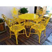 Jogo De Mesa Floral Amarelo Em Alumínio Fundido - Cód 2041
