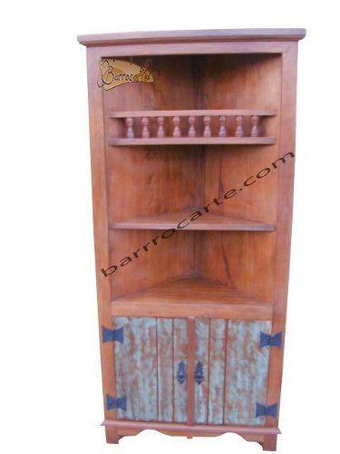 Armário de Canto Rústico Blue Wood em Madeira de Demolição - Cód 21