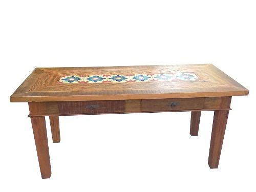 Jogo De Mesa Mosaico Em Madeira De Demolição - Cód 1552