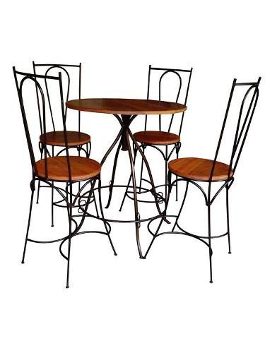 Jogo de Mesa Com 04 Cadeiras em Madeira e Ferro - Cód 1466