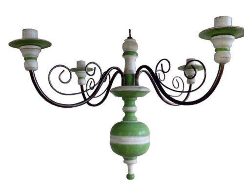 Lustre Para 04 Lâmpadas Em Madeira E Ferro (Várias Opções de Cores) - Cód 1444