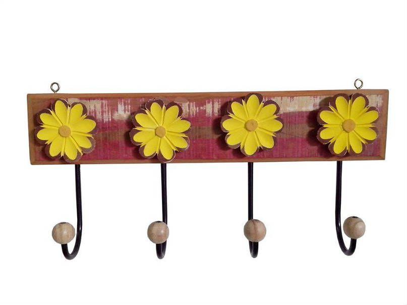 Cabideiro Flores 04 Ganchos em Madeira e Ferro (Várias Cores) - Cód 1601