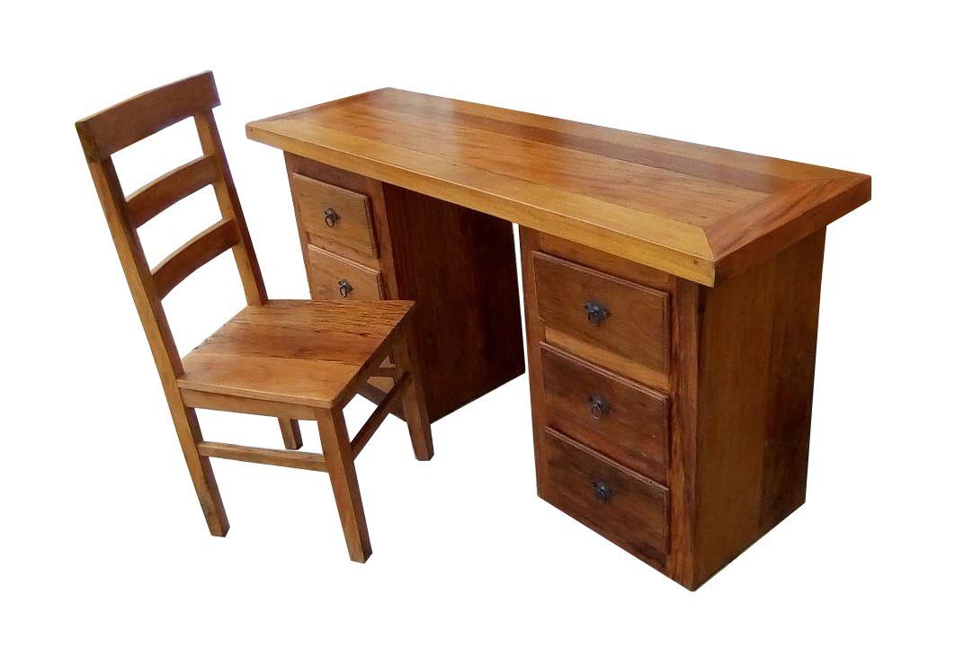 Escrivaninha Rústica Eve Com Cadeira em Madeira de Demolição - Cód 2384