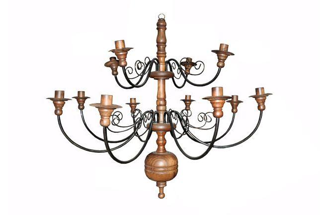 Lustre Para 12 Lâmpadas em Madeira e Ferro (Várias Opções de Cores) - Cód 1417