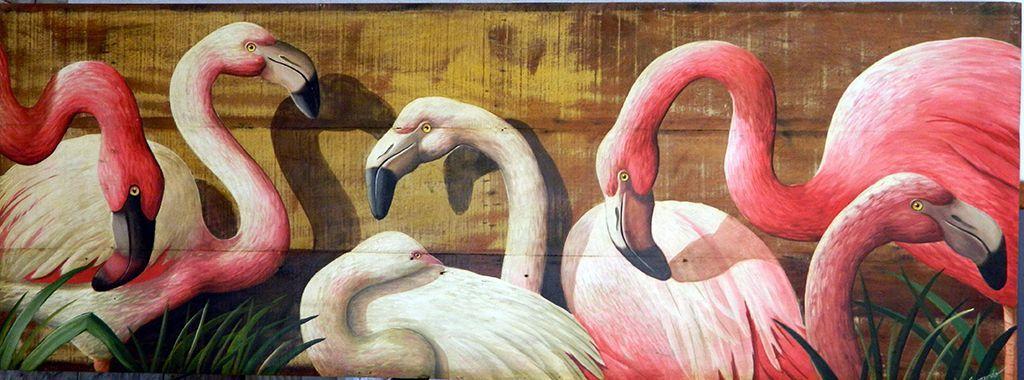 Quadro Flamingos Em Madeira De Demolição - Cód 1266