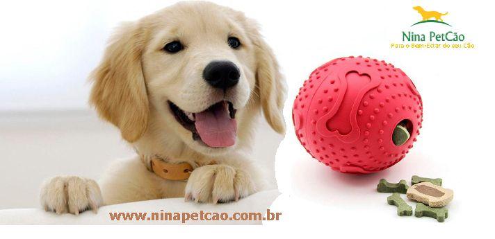 Bola de Borracha Macia com Dispenser de Ração. Sem tédio para o seu cão!