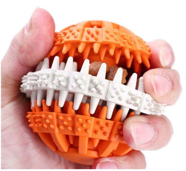 Bola Dentada Interativa - A refeição do seu cão com muito mais diversão! Brinquedo Interativo