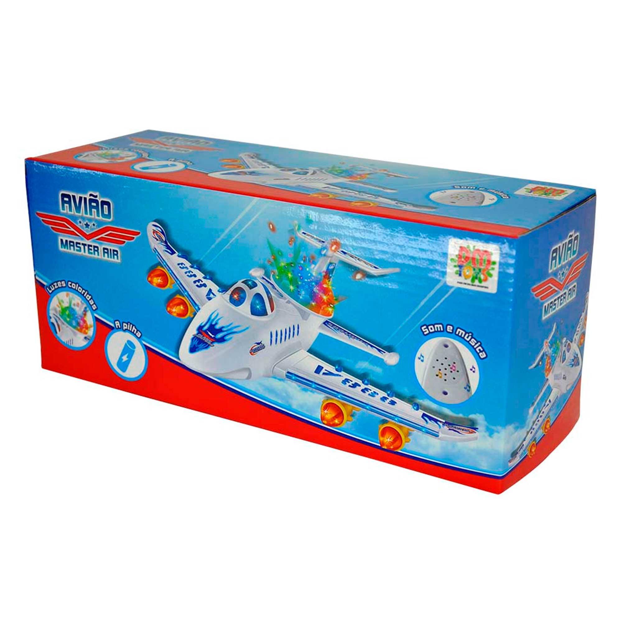 Avião Brinquedo Master Air C/ Luz E Som Bate Volta