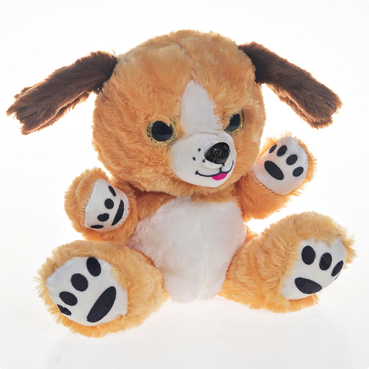 Cachorro de Pelúcia Com Olhos Brilhantes 19cm Sentado