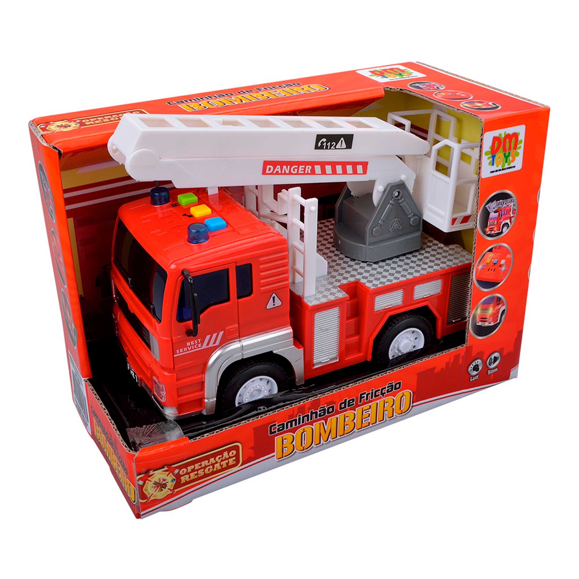Caminhão De Bombeiro Fricção C/ Luz e Som