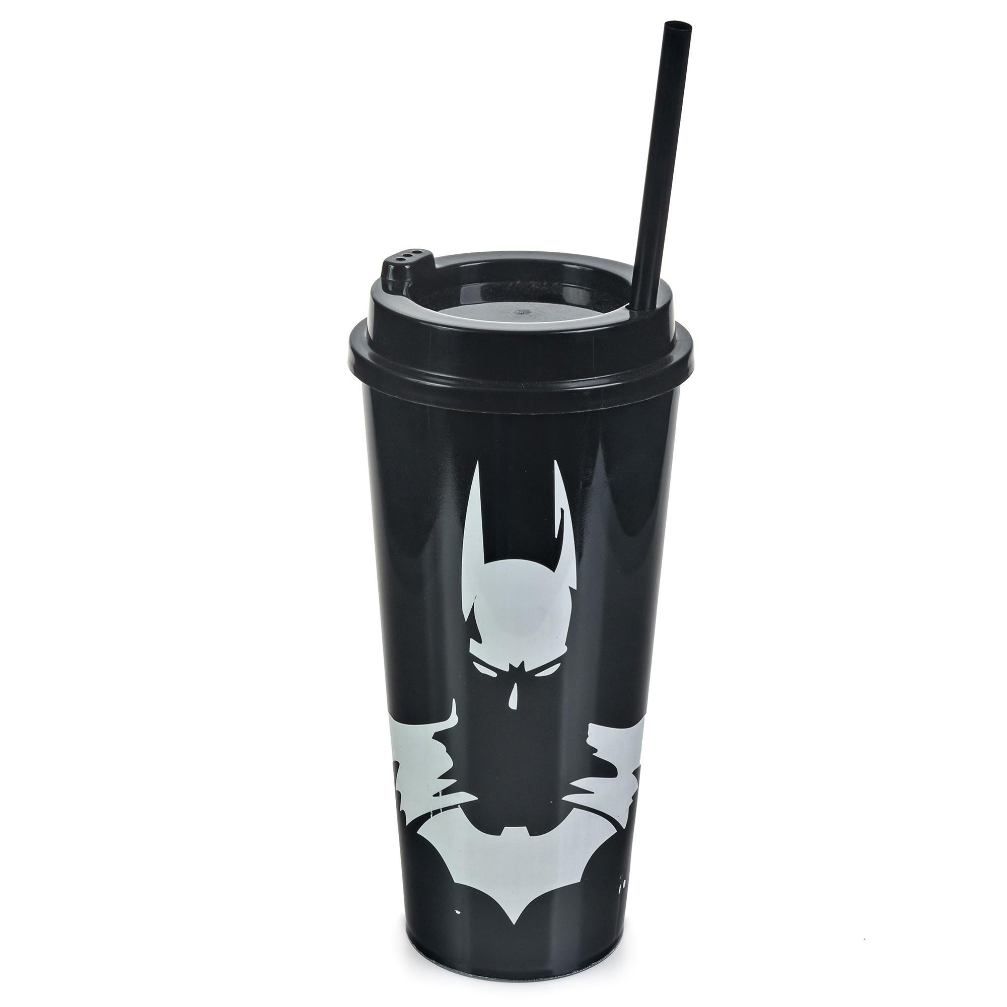 Copo Plástico Com Tampa e Canudo 1 Litro - Batman