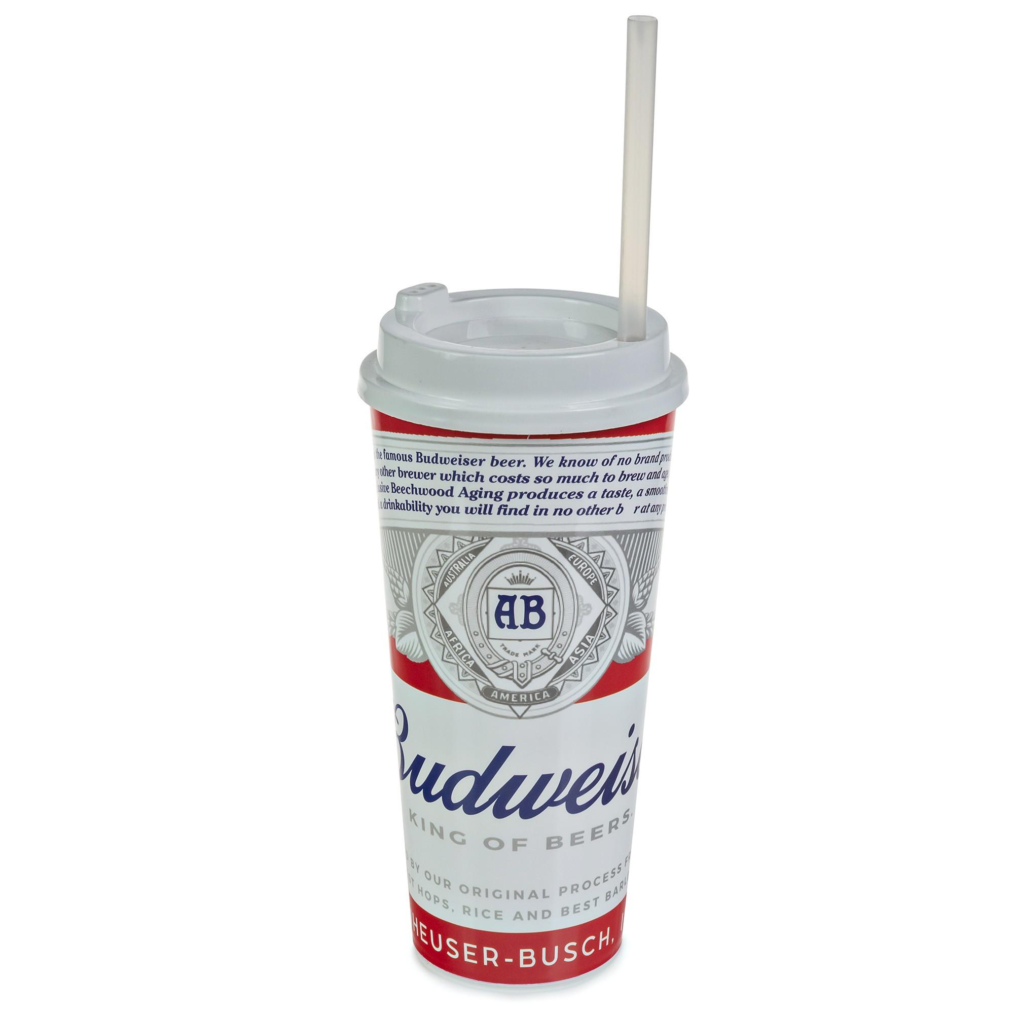 Copo Plástico Com Tampa e Canudo 1 Litro - Budweiser
