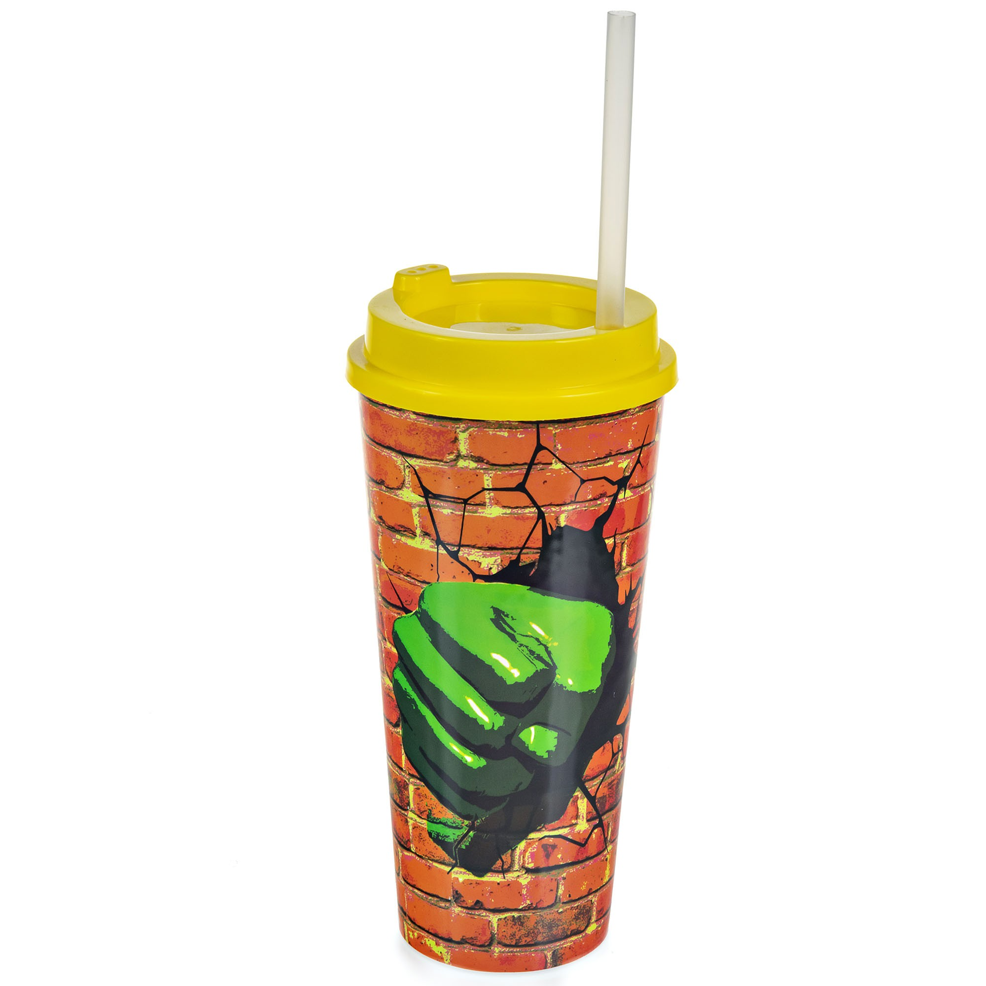 Copo Plástico Com Tampa e Canudo 1 Litro - Hulk