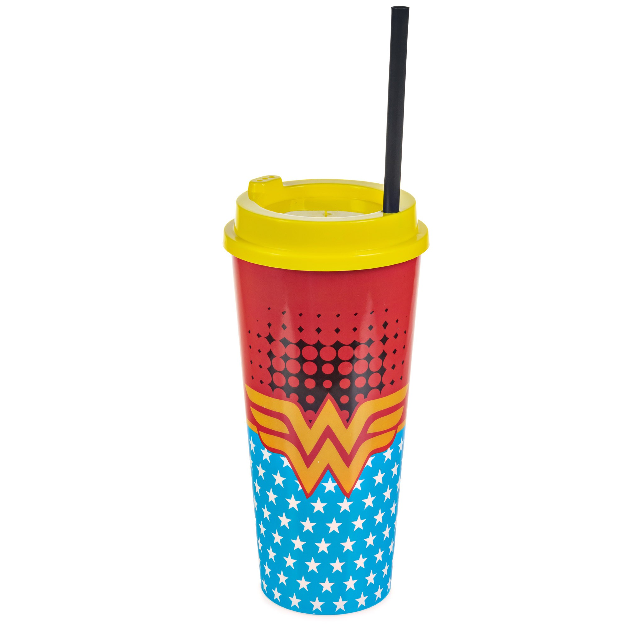 Copo Plástico Com Tampa e Canudo 1 Litro - Mulher Maravilha