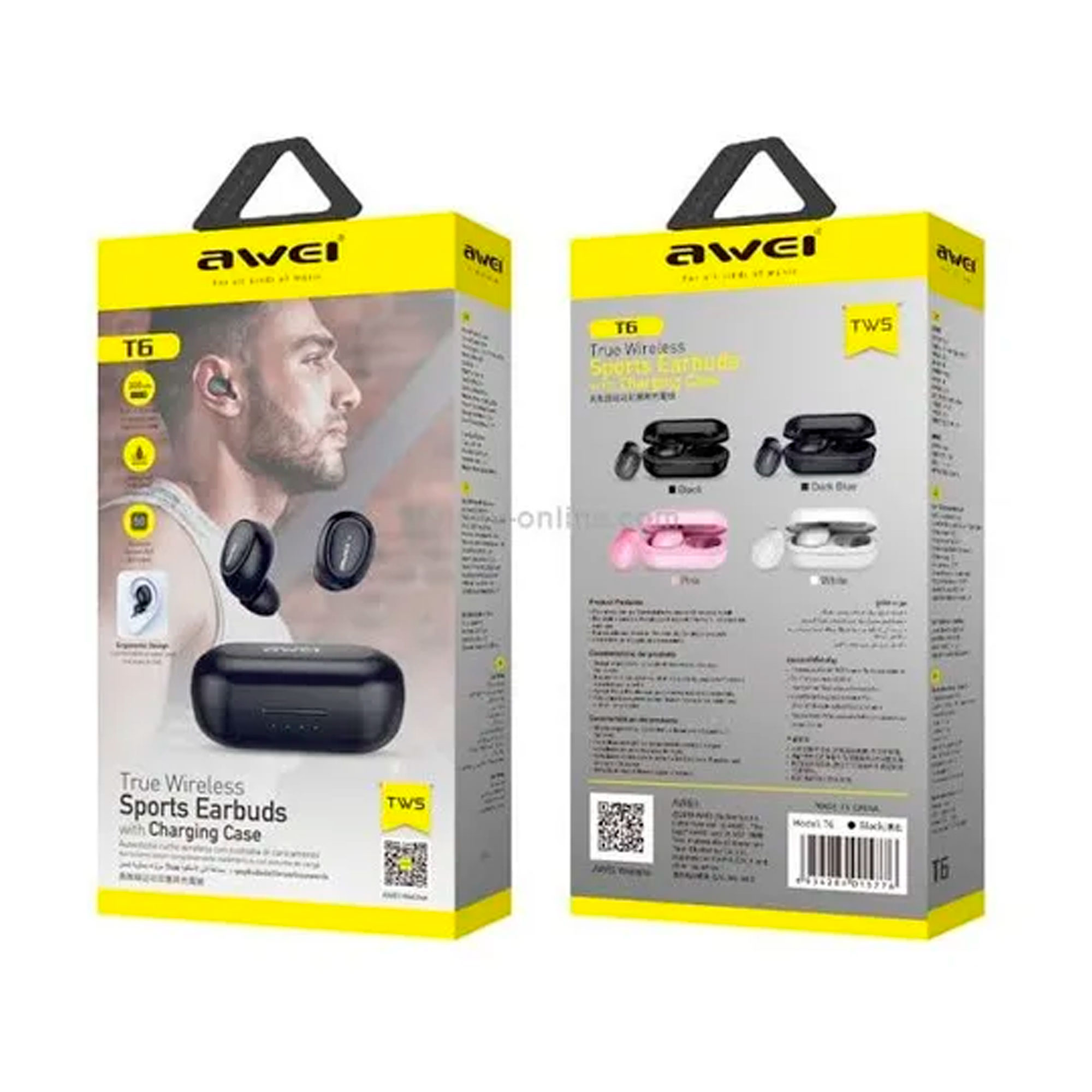 Fone de Ouvido Sem Fio Awei T6 Sports Earbuds Bluetooth
