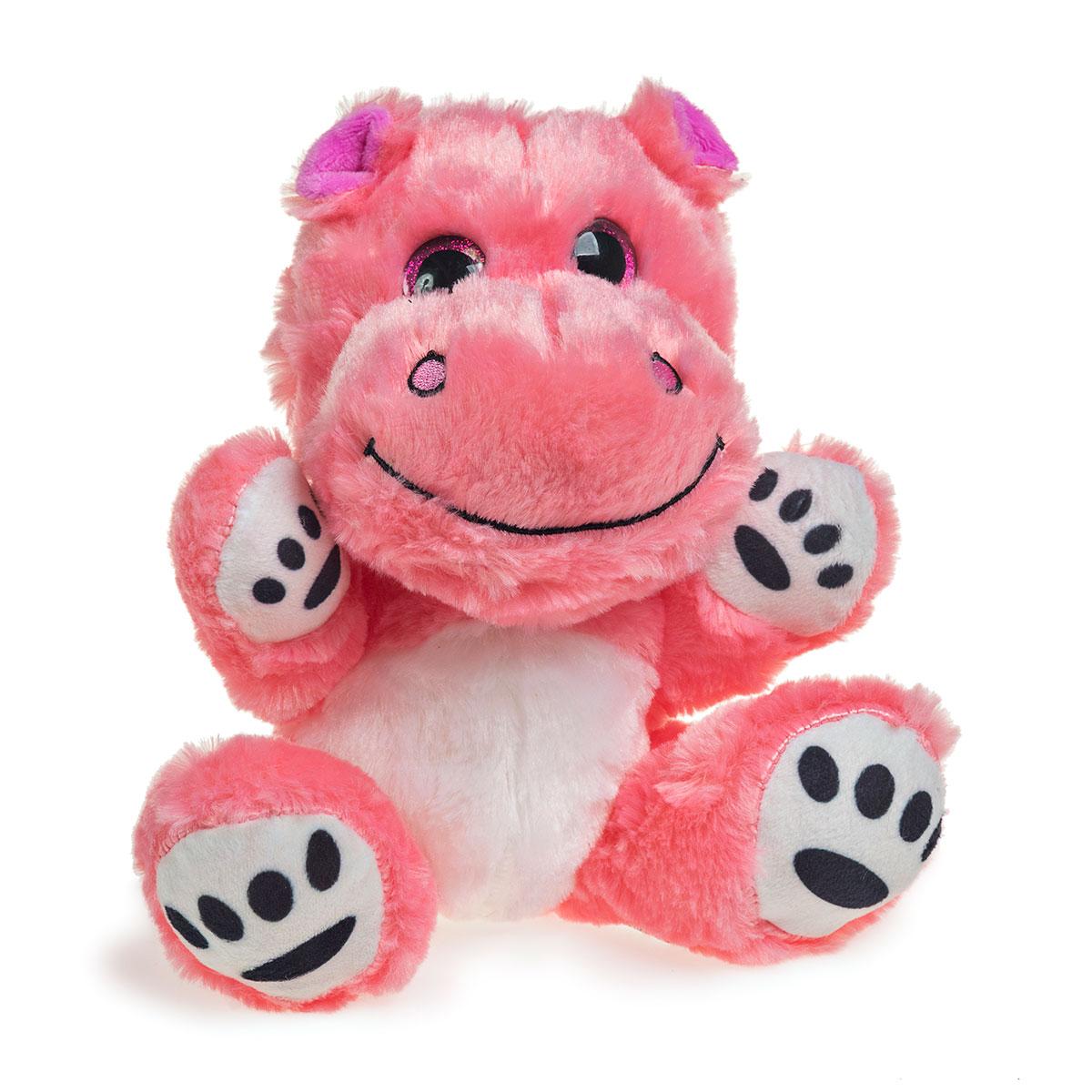 Hipopótamo de Pelúcia Com Olhos Brilhantes 19cm Sentado