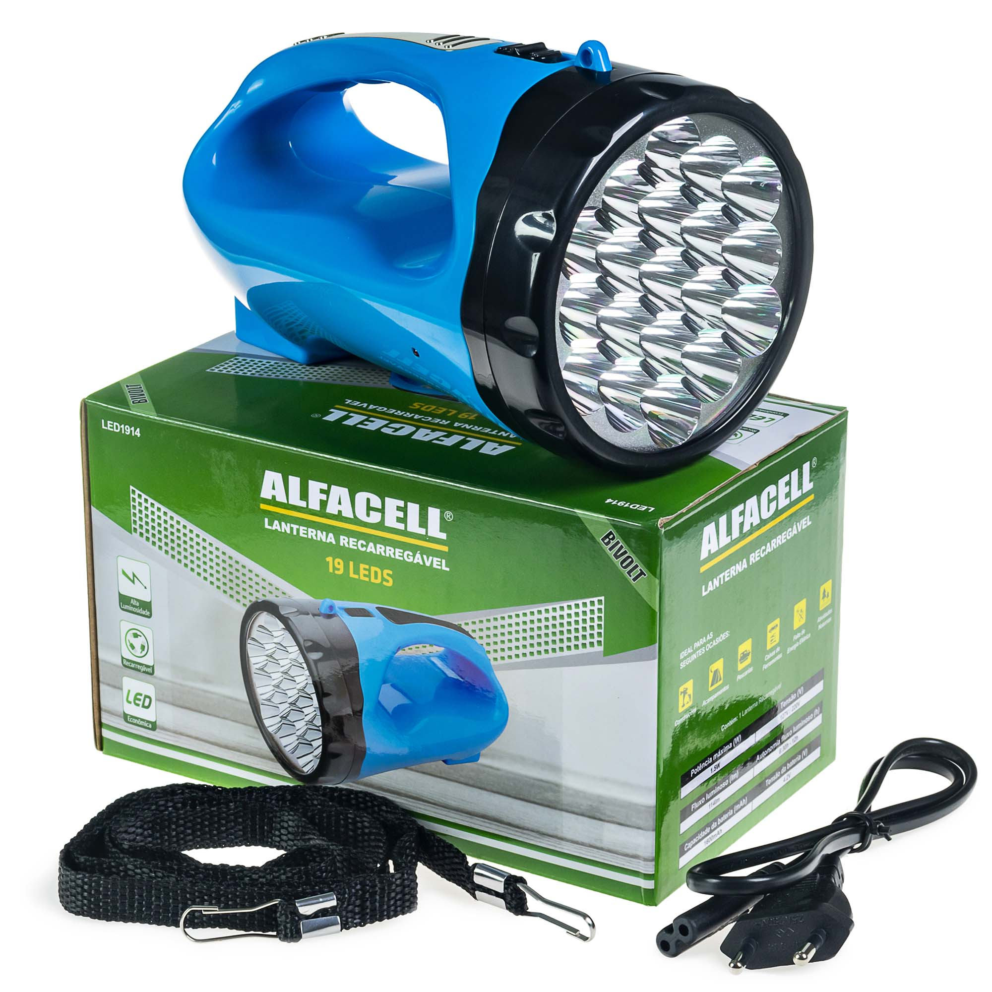 Lanterna Recarregável 19 Leds Bivolt - Alfacell