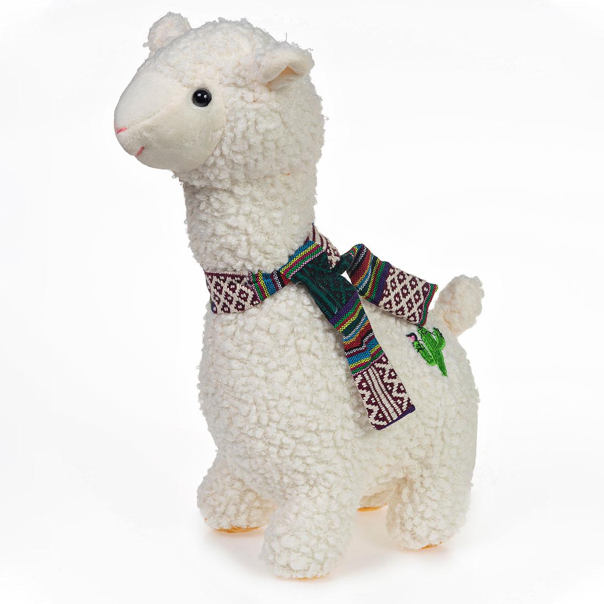 Lhama Alpaca de Pelúcia Branca Com Cachecol 30cm