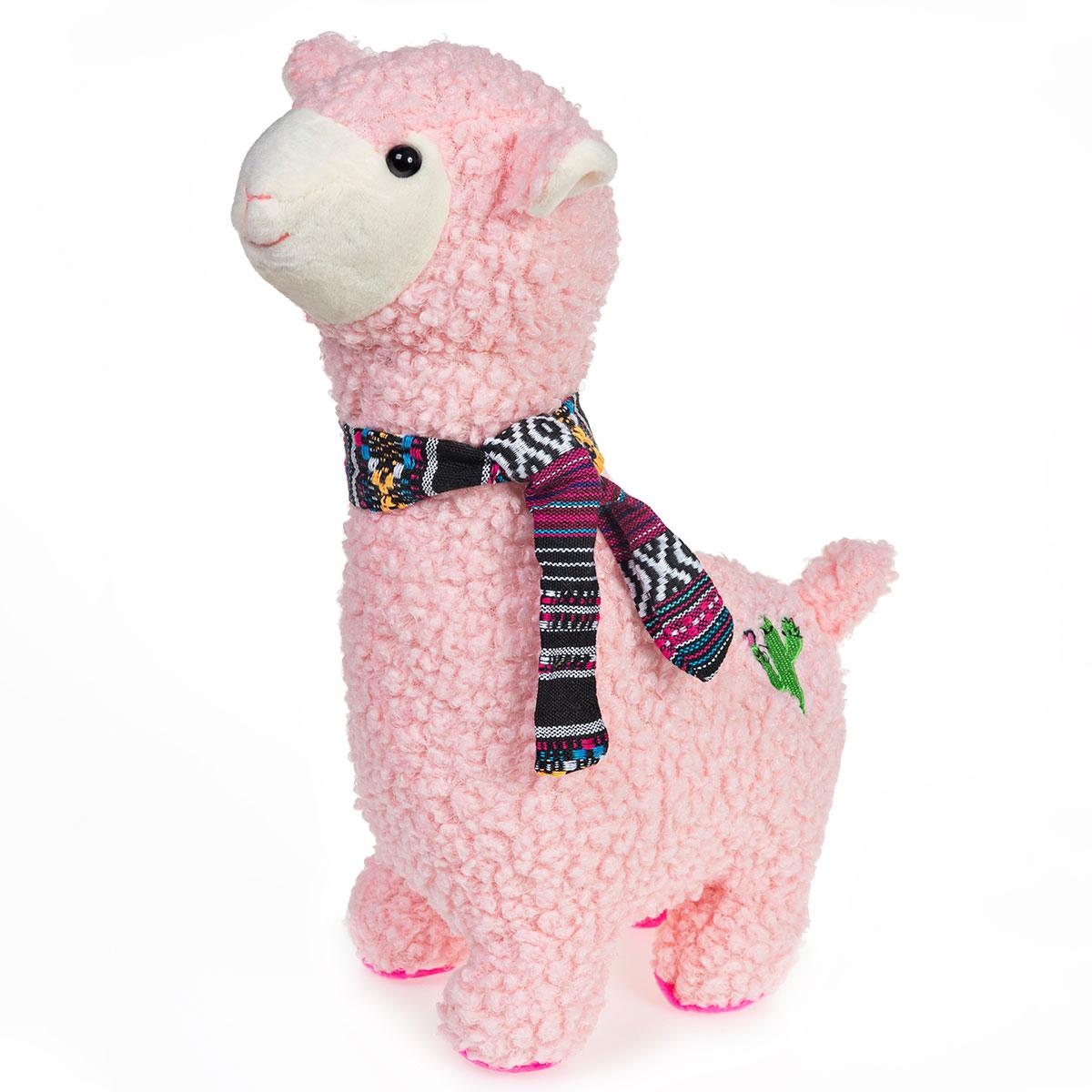Lhama Alpaca de Pelúcia Rosa Com Cachecol 30cm