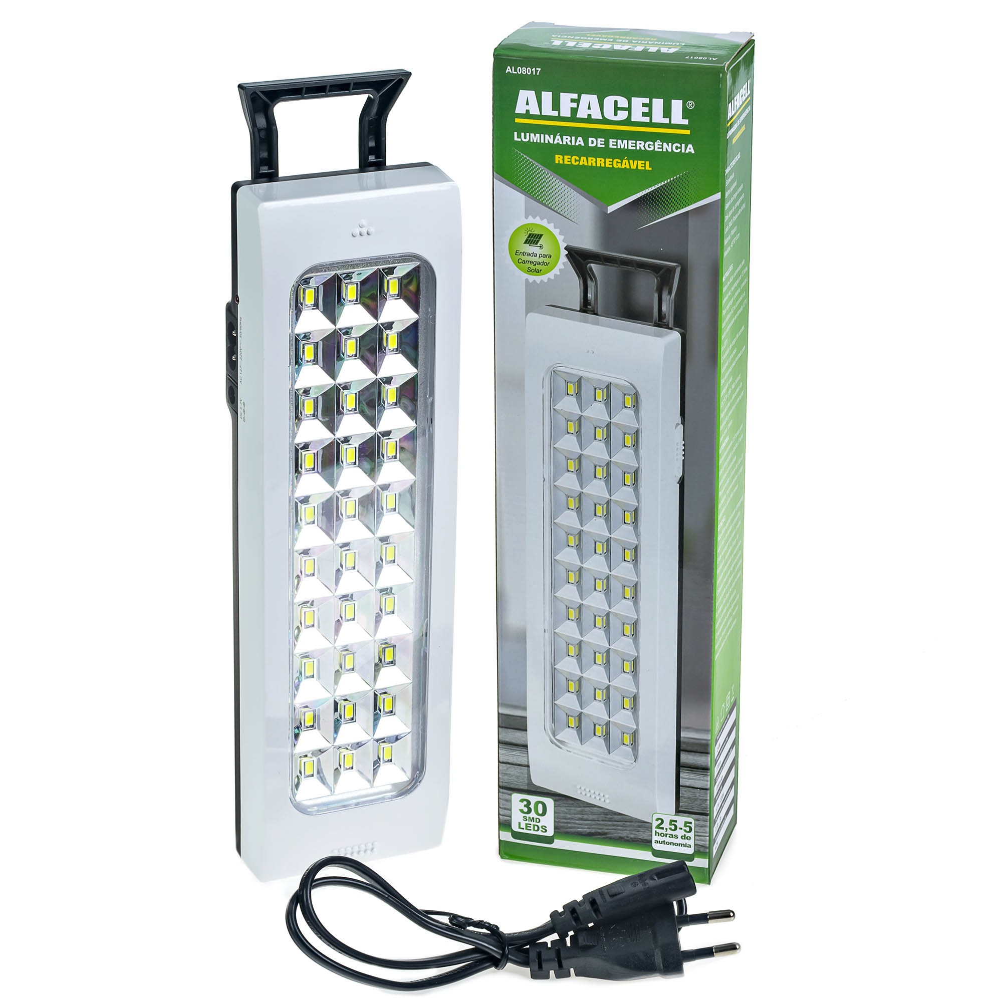 Luminária Luz De Emergência 30 Leds Recarregável Bivolt Entrada Para Carregador Solar - Alfacell