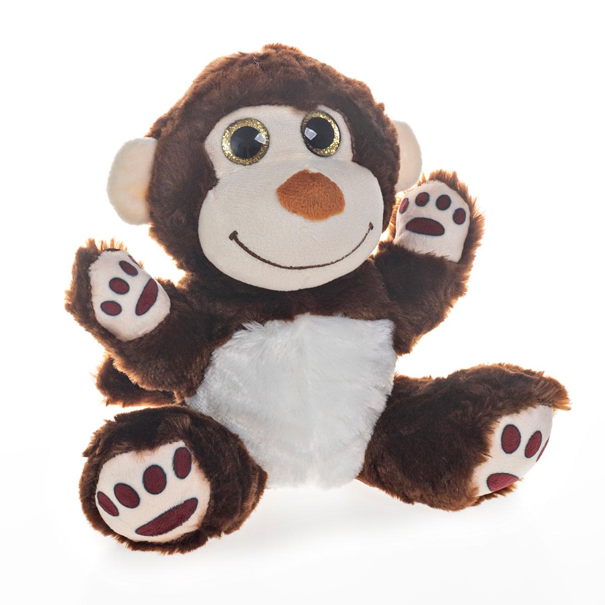Macaco de Pelúcia Com Olhos Brilhantes 19cm Sentado