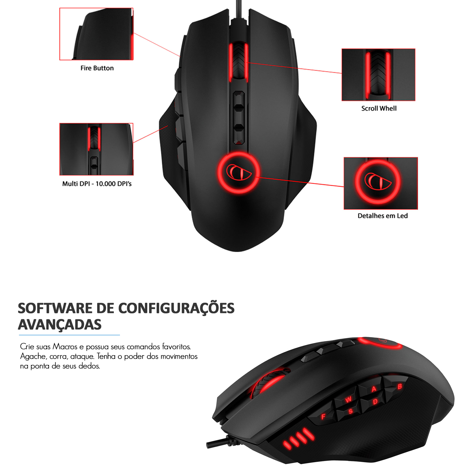 Mouse Gamer Leadership Defender 12 Botões 10.000 DPI USB LED