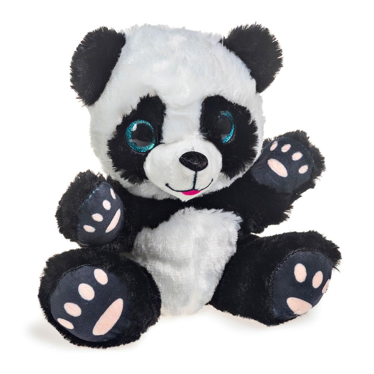 Panda de Pelúcia Com Olhos Brilhantes 19cm Sentado