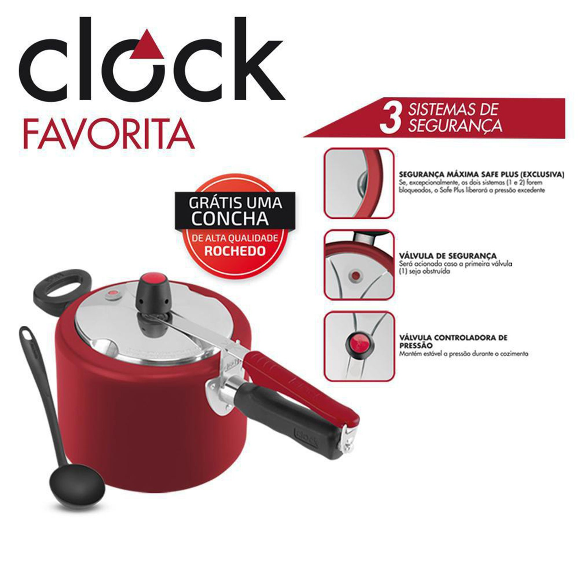 Panela De Pressão Clock Favorita 4,5L Alumínio Vermelha + Concha