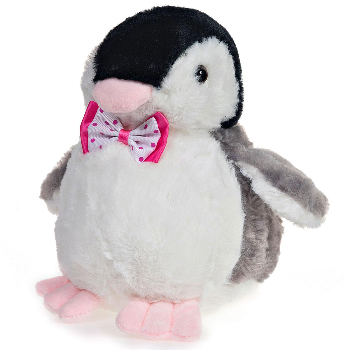Pinguim de Pelúcia Com Laço Rosa 23cm