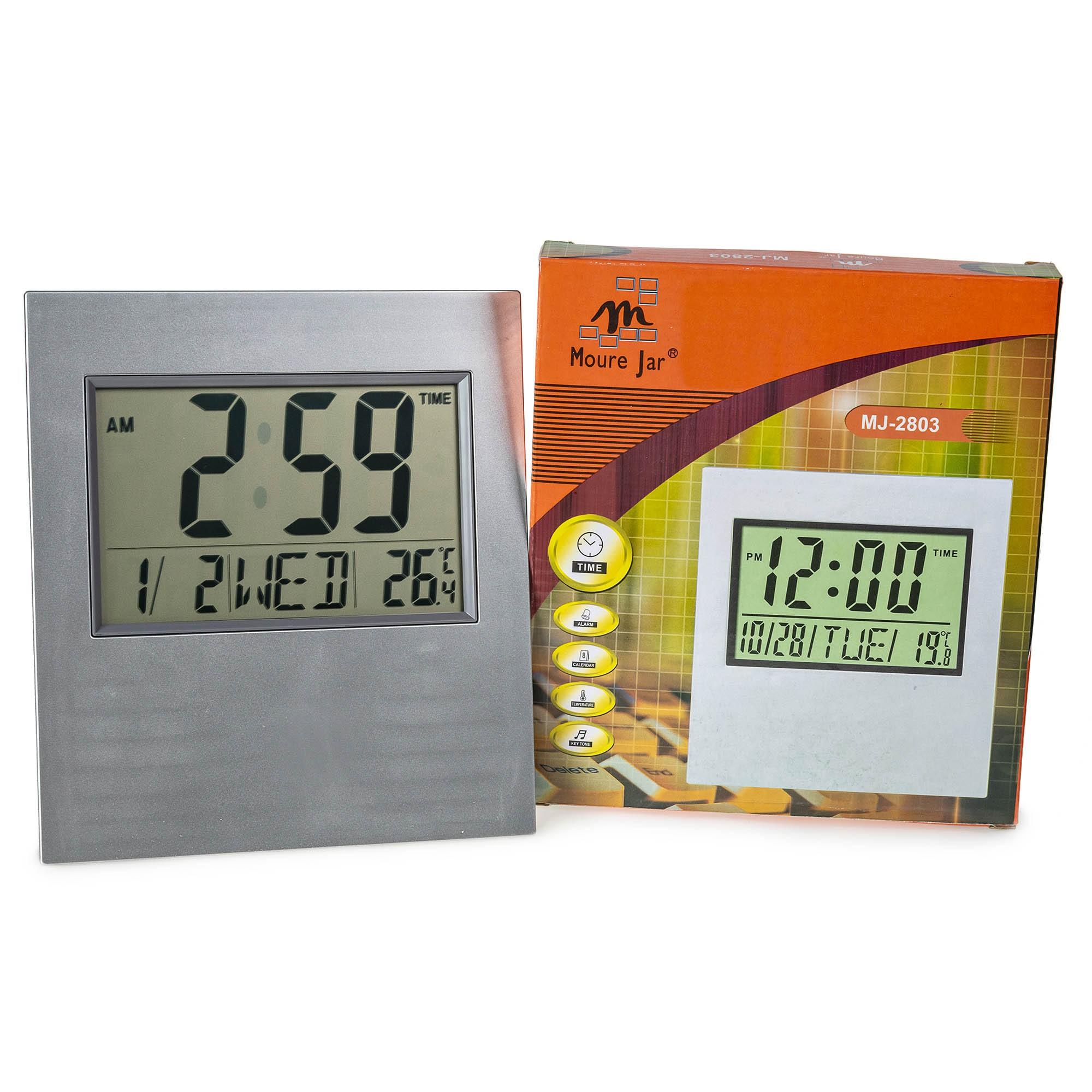 Relógio Despertador de Parede Mesa Digital Data Temperatura MJ2803 Prata