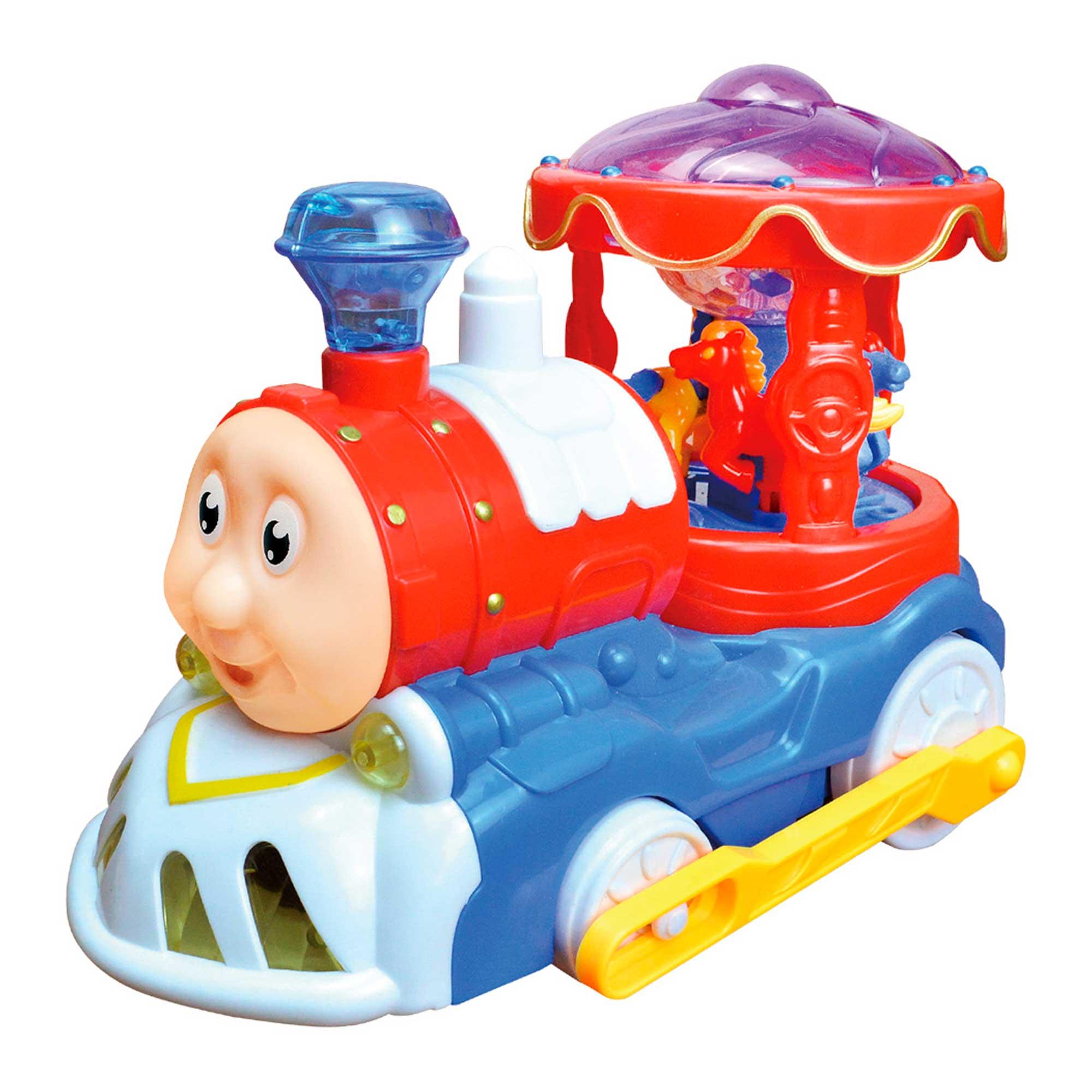 Trenzinho Carrosel Bate e Volta Brinquedo Infantil C/ Luz E Som