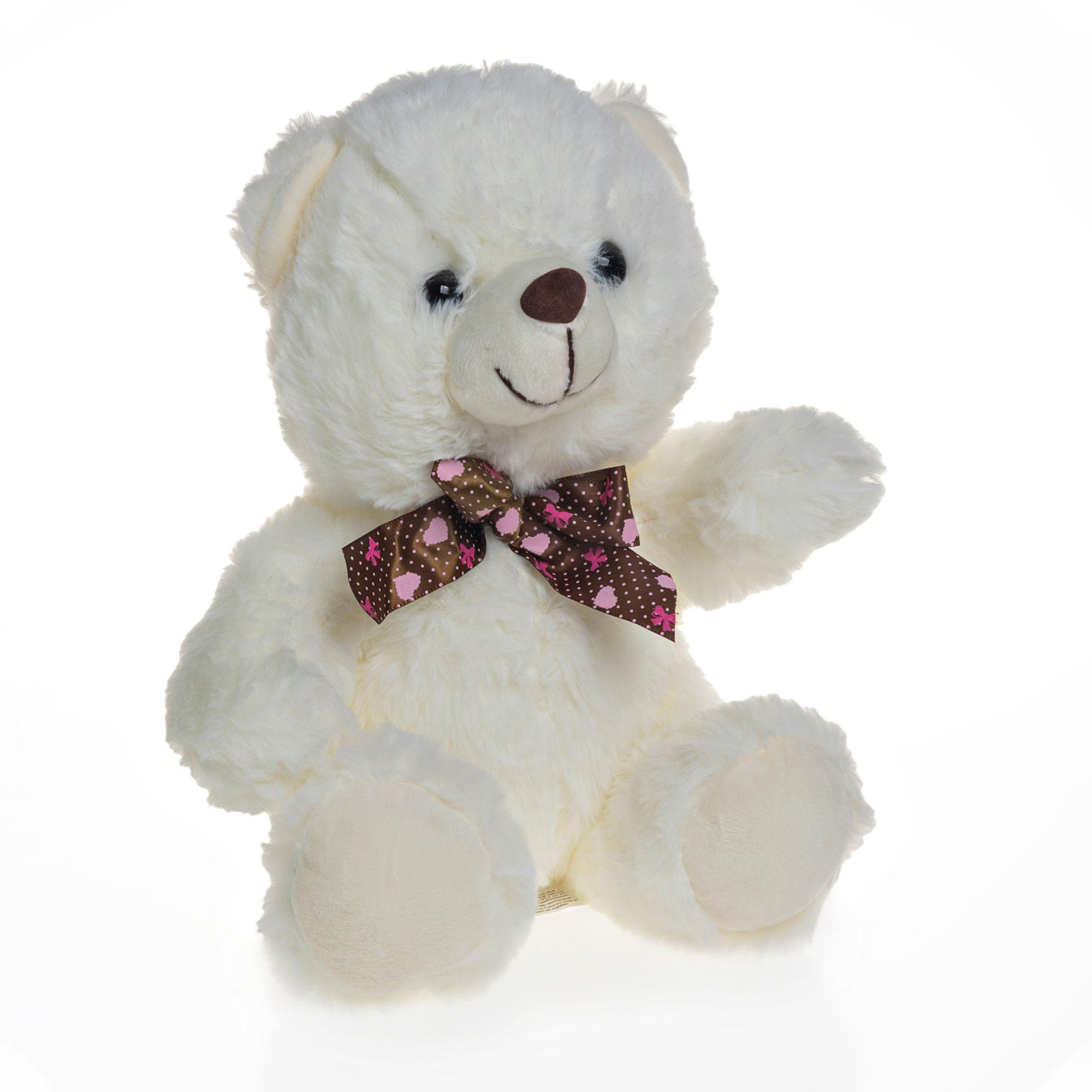 Urso de Pelúcia Branco Com Lacinho 23cm Sentado