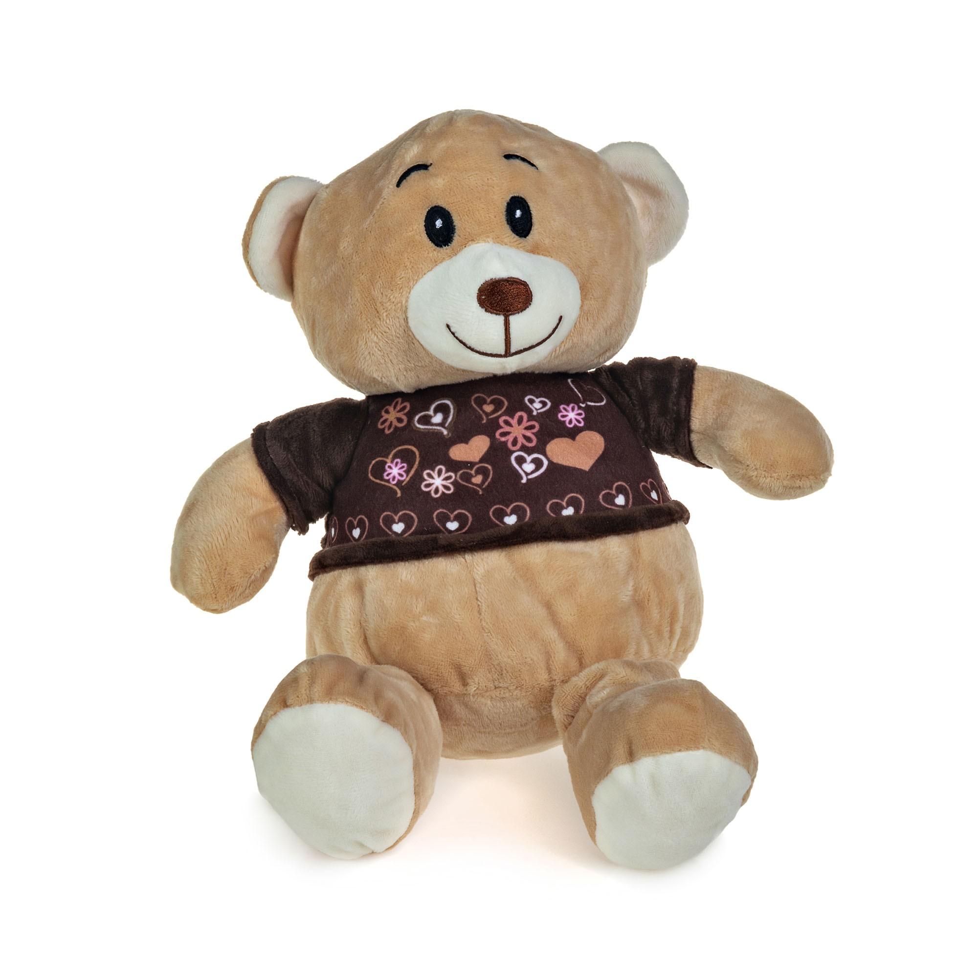Urso de Pelúcia Camisa Marrom Com Corações 22cm Sentado
