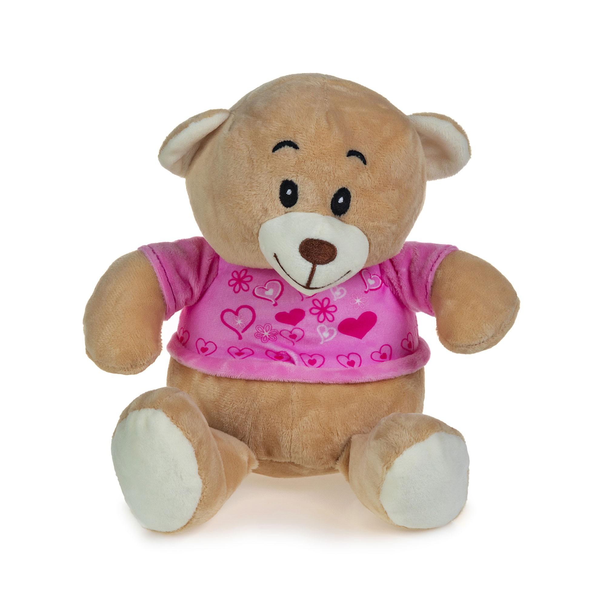 Urso de Pelúcia Camisa Rosa Com Corações 22cm Sentado