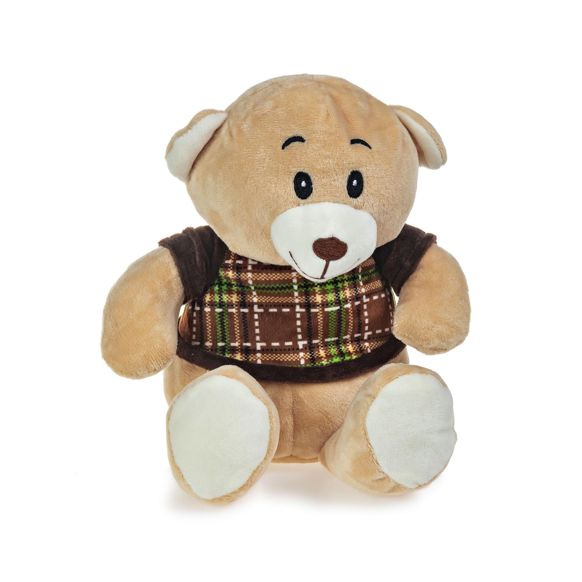 Urso de Pelúcia Camisa Xadrez 22cm Sentado