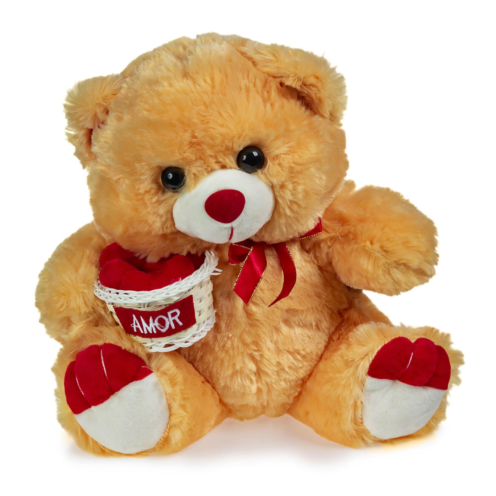 Urso de Pelúcia Caramelo Cestinha Amor 30cm Sentado