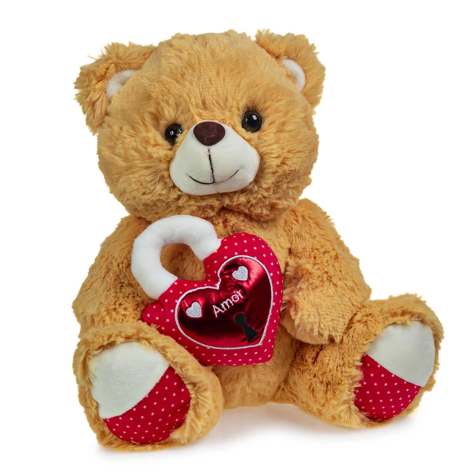 Urso de Pelúcia Caramelo Coração Cadeado 30cm Sentado