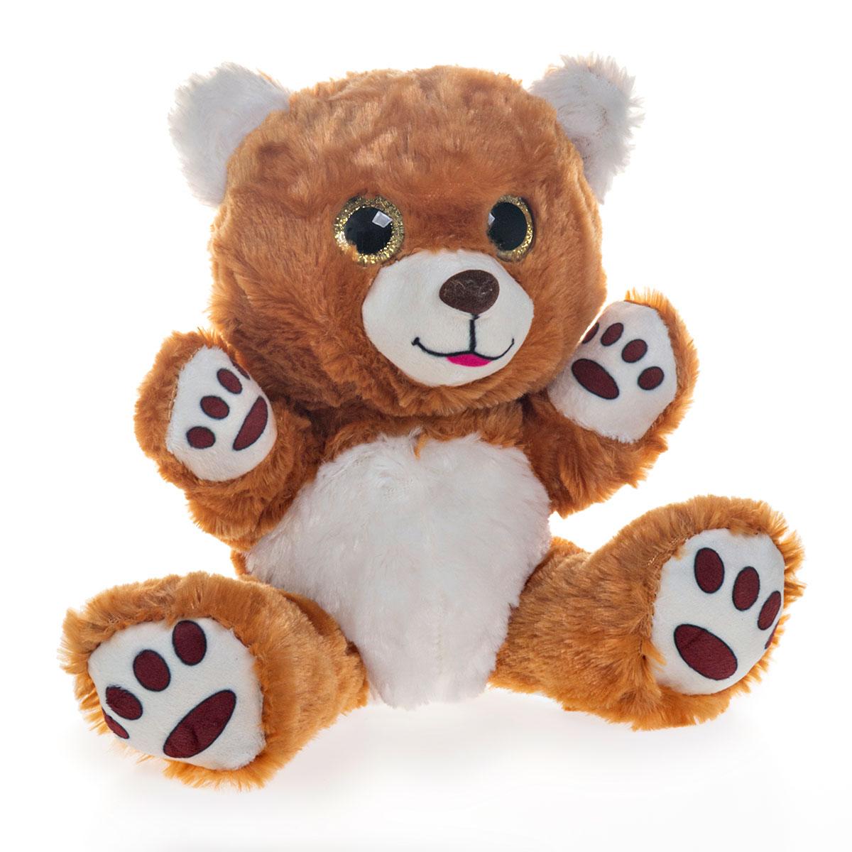 Urso de Pelúcia Com Olhos Brilhantes 19cm Sentado