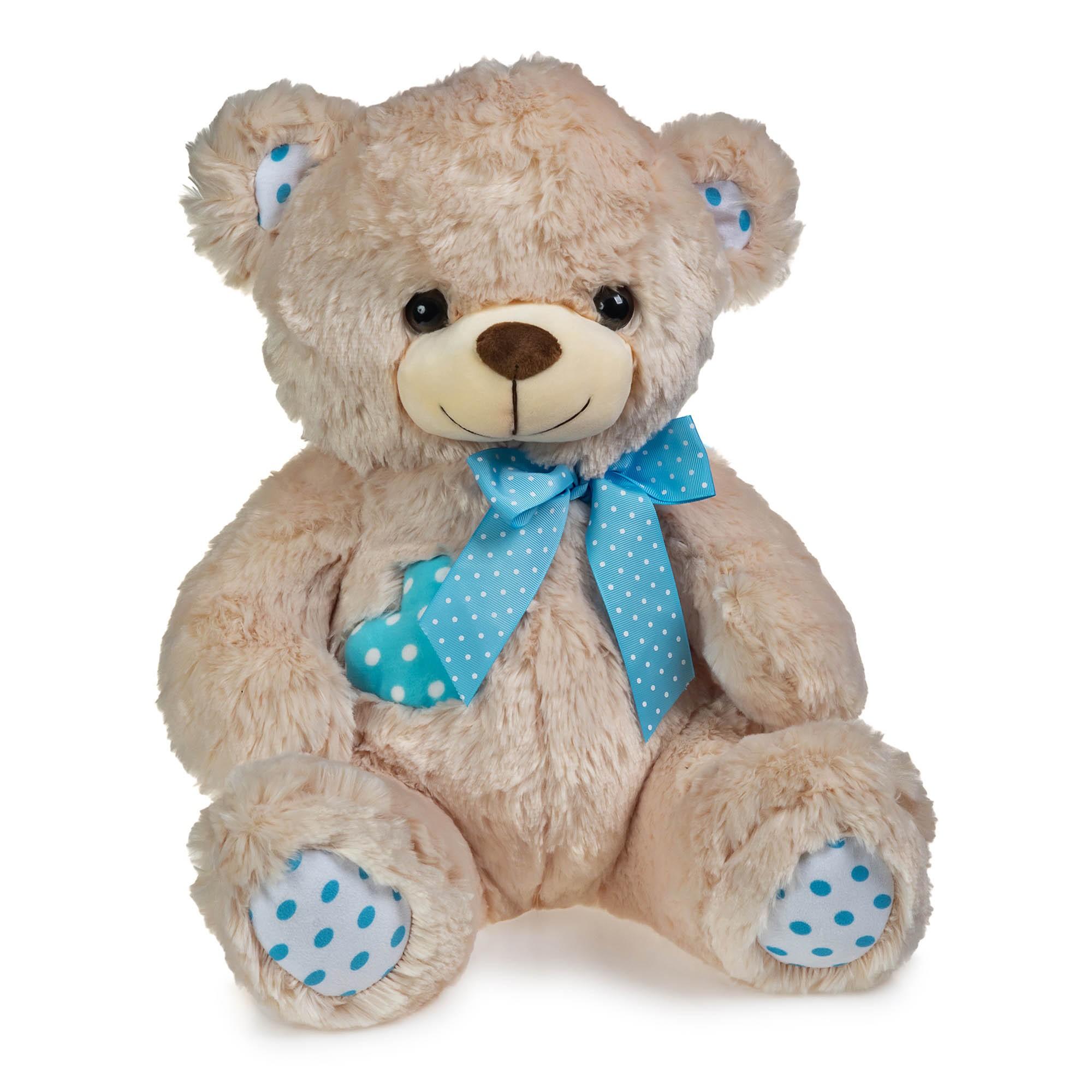 Urso de Pelúcia Coração de Bolinhas Azul 40cm Sentado