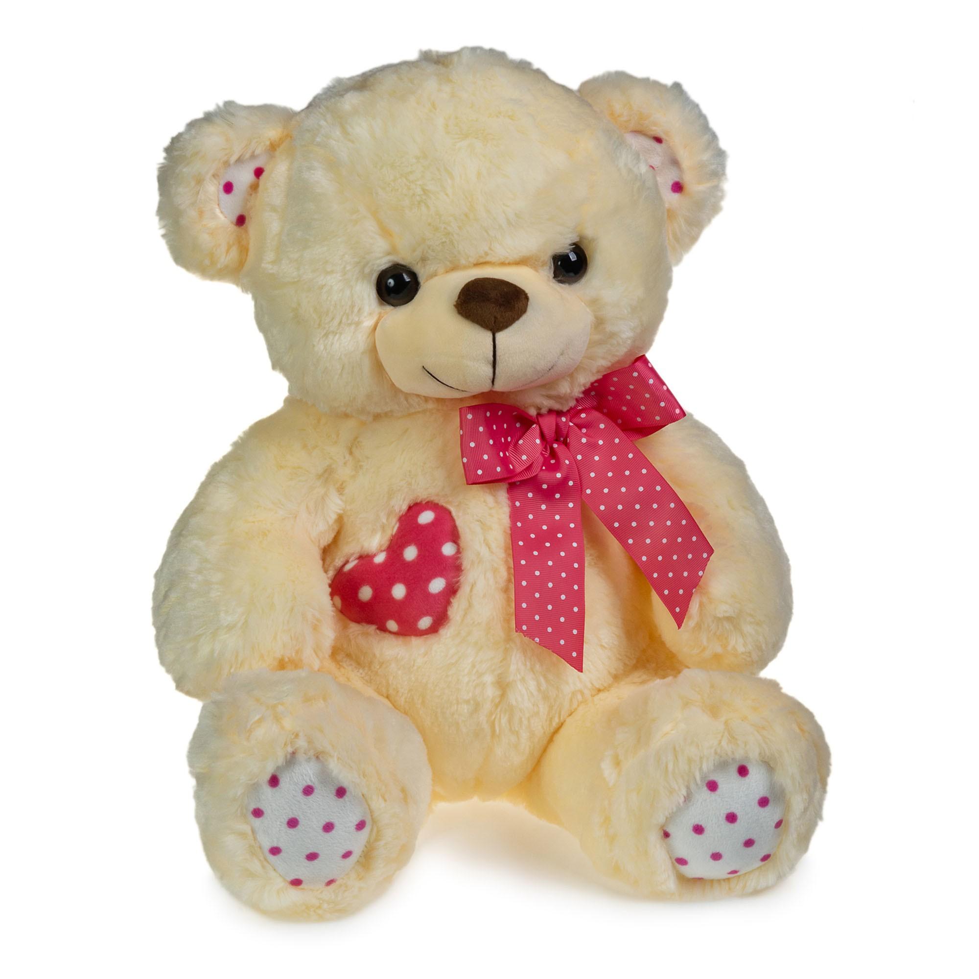 Urso de Pelúcia Coração de Bolinhas Rosa 40cm Sentado