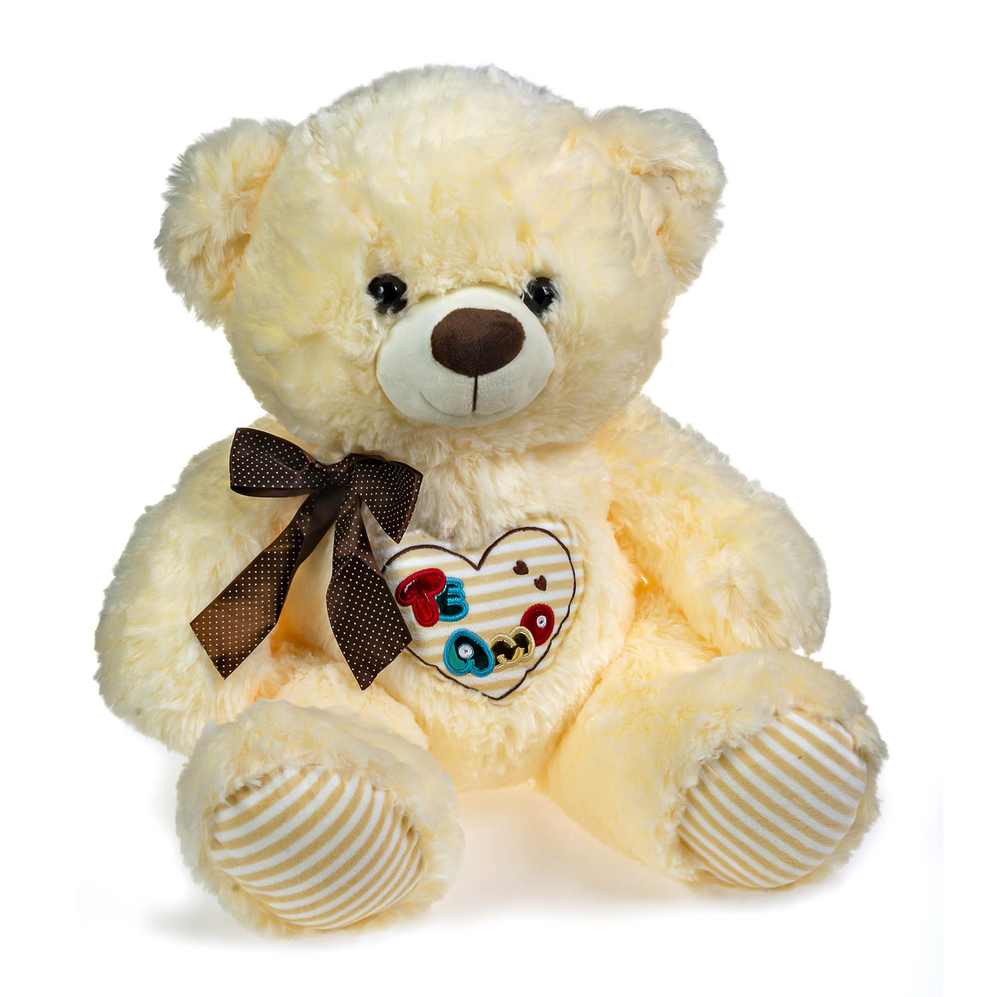 Urso de Pelúcia Creme Coração 40cm Sentado