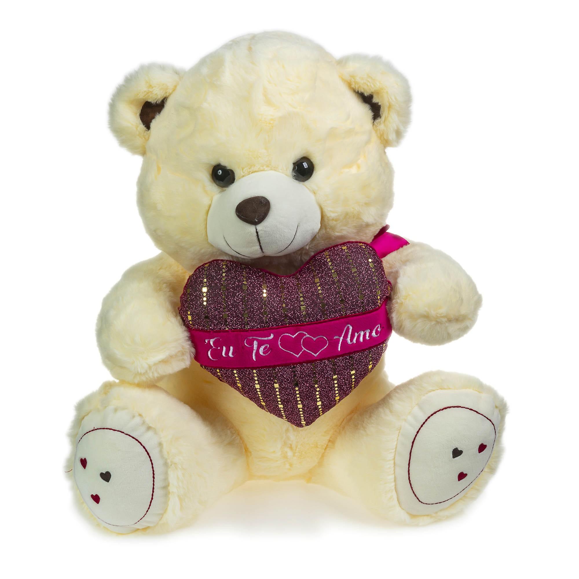 Urso de Pelúcia Creme Coração 48cm Sentado