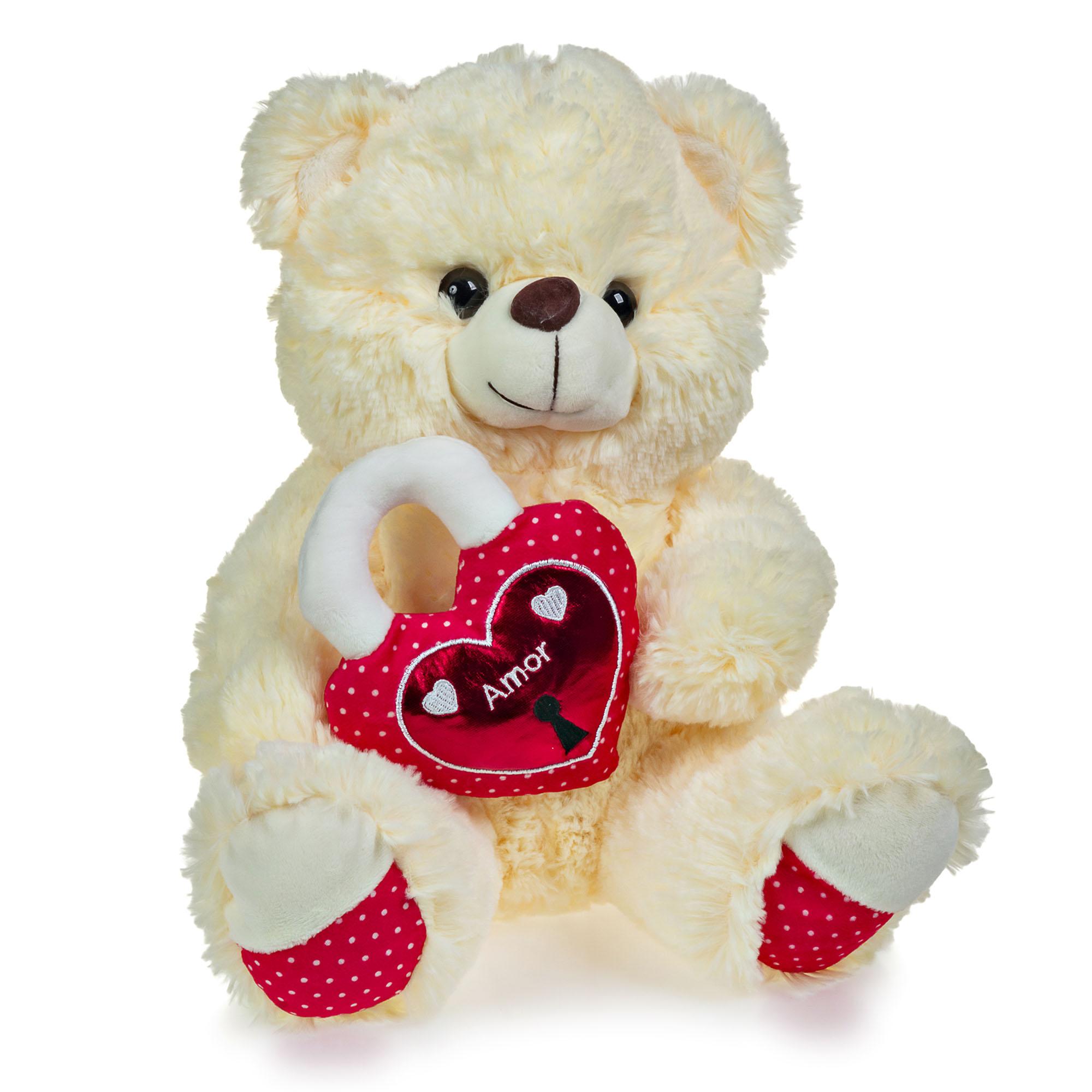 Urso de Pelúcia Creme Coração Cadeado 30cm Sentado