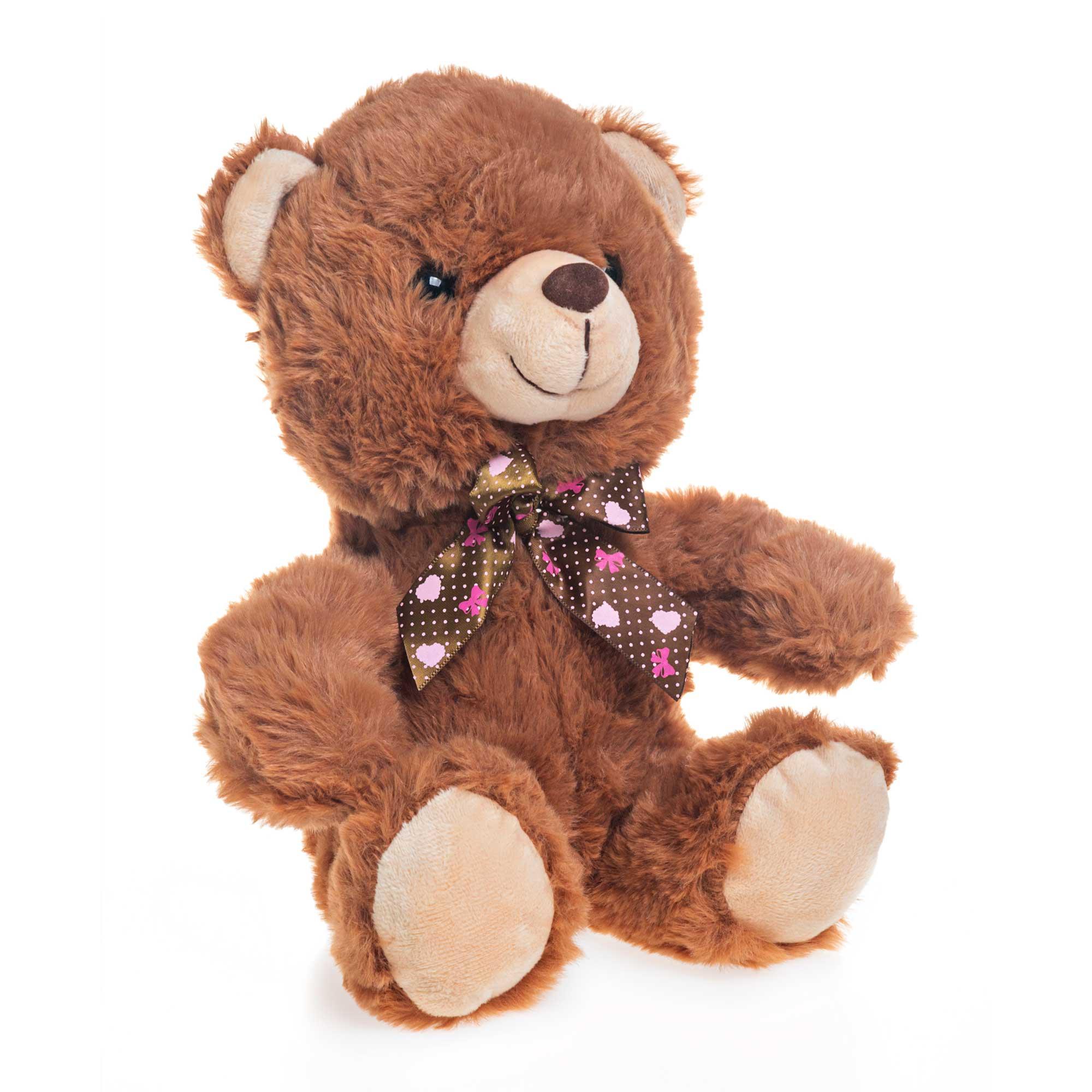 Urso de Pelúcia Marrom Claro Com Lacinho 23cm Sentado