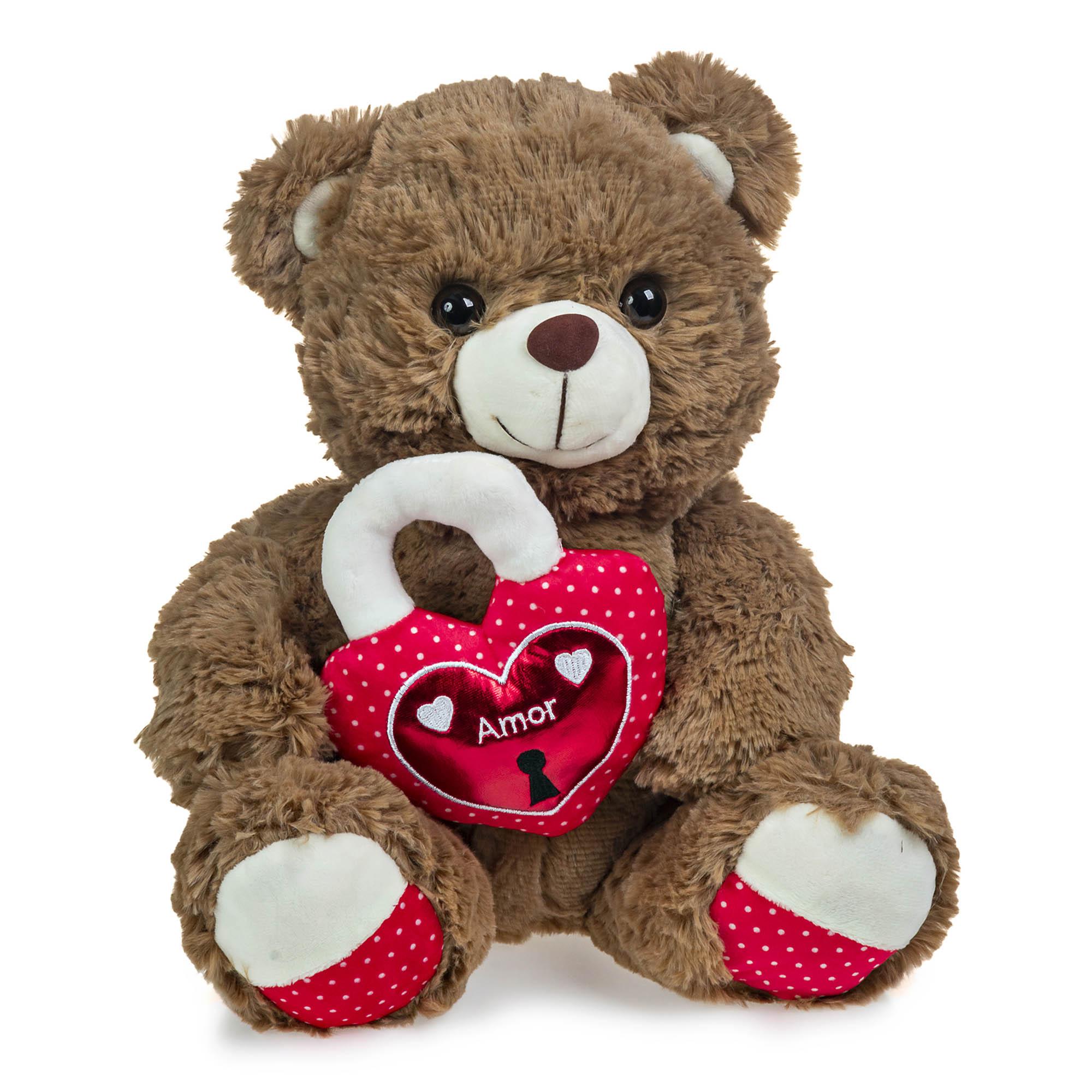 Urso de Pelúcia Marrom Coração Cadeado 30cm Sentado