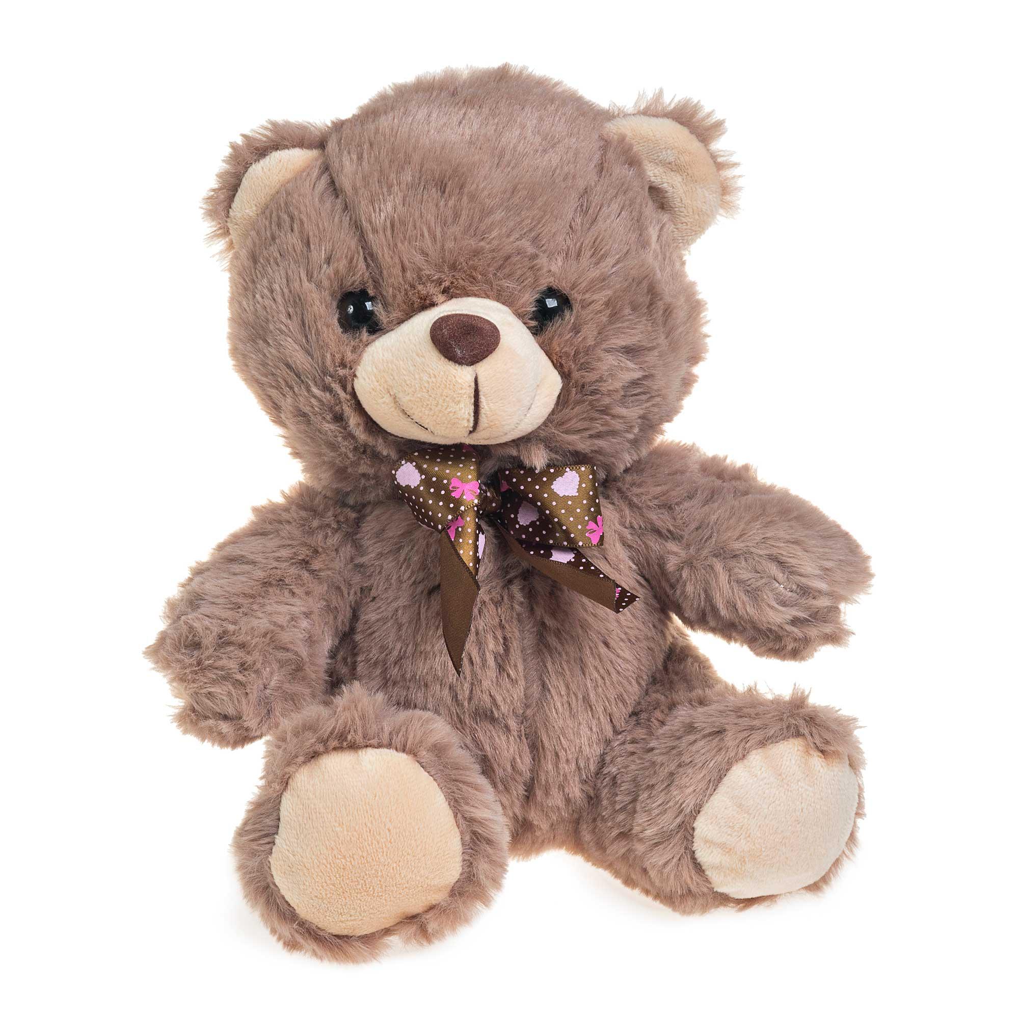 Urso de Pelúcia Marrom Escuro Com Lacinho 23cm Sentado