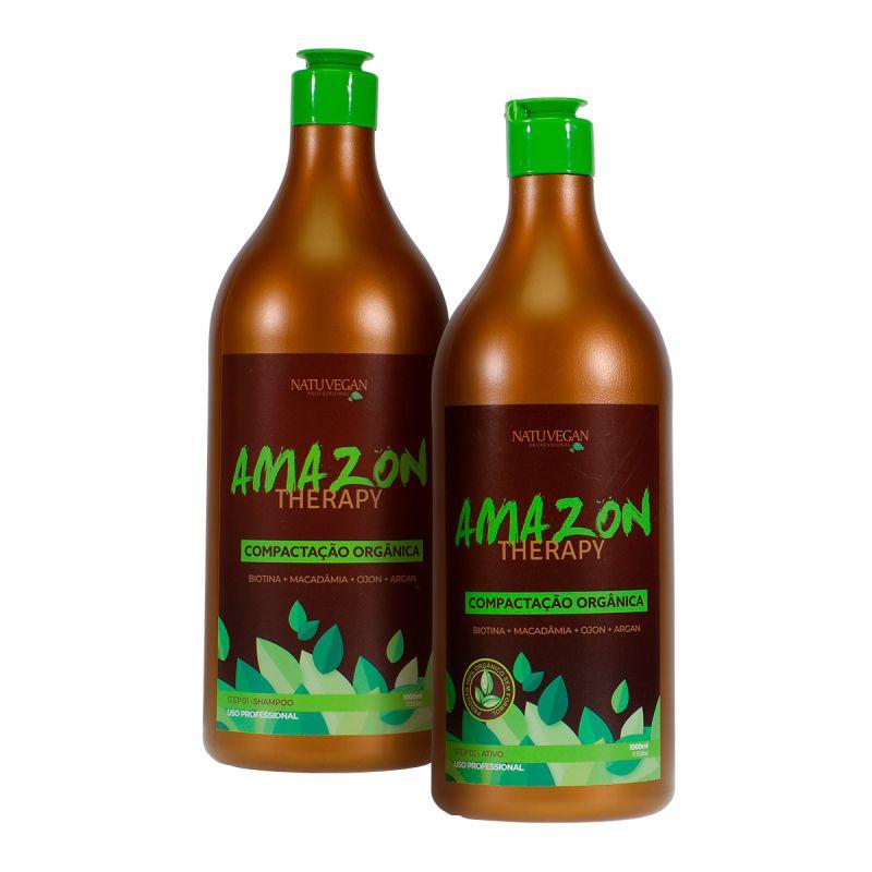 Compactação Orgânica Amazon Therapy Com Macadâmia, Biotina, Argan e Ojon Alisa Extremo e Hidrata - 2x1L