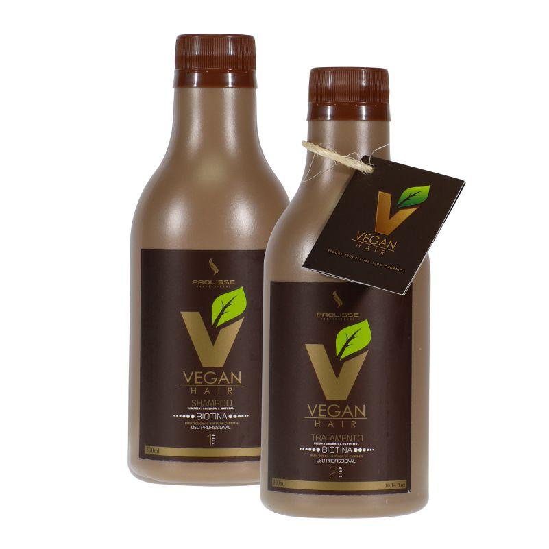 Progressiva Vegan Hair Orgânica Com Biotina e Macadâmia Alisa e Acelera o Crescimento Capilar - Sem Formol - 2x300ml