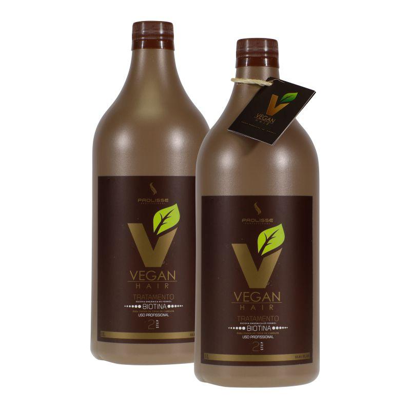 Progressiva Vegan Hair Orgânica Com Biotina e Macadâmia Alisa e Acelera o Crescimento Capilar - Sem Formol - 2x1000ml